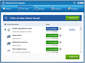 Image of WinZip Driver Updater scan results screen